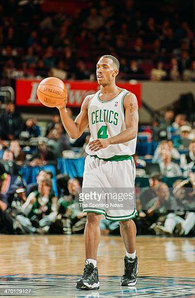Chauncey Billups of the Boston Celtics during the 1998 NBA Rookie game on February 8 1998 at Madison Square Garden in New York City