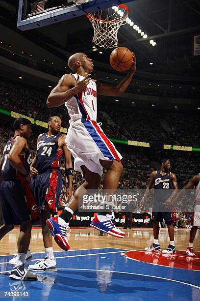 Chauncey Billups of the Cleveland Cavaliers takes the ball to the basket in Game Five of the Eastern Conference Finals against the Detroit Pistons...