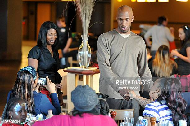 Chauncey Billups of the Denver Nuggets and his wife Piper Billups host thirty families from the Warren Village to a Holiday Party on December 20 2010...