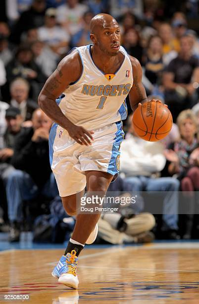 Chauncey Billups of the Denver Nuggets dribbles the ball upcourt against the Utah Jazz during NBA action at Pepsi Center on October 28 2009 in Denver...
