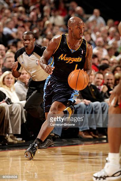 Chauncey Billups of the Denver Nuggets drives down the court during the game against the Portland Trail Blazers on October 29 2009 at Rose Garden...
