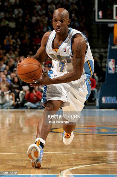 Chauncey Billups of the Denver Nuggets drives the lane against the Portland Trail Blazers during NBA action at the Pepsi Center on March 5 2009 in...