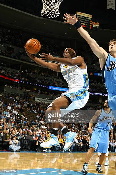 Chauncey Billups of the Denver Nuggets goes to the basket against the Utah Jazz on October 28 2009 at the Pepsi Center in Denver Colorado NOTE TO...