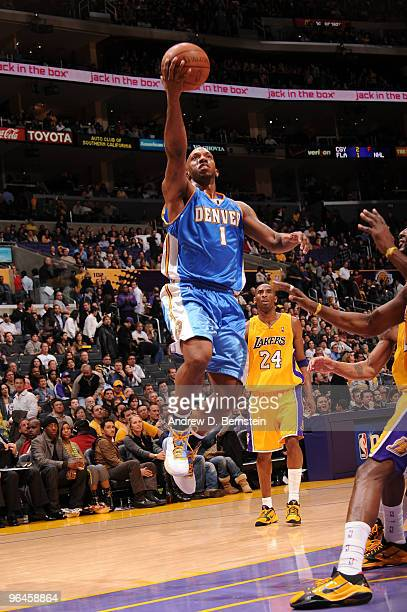 Chauncey Billups of the Denver Nuggets goes up for a shot against the Los Angeles Lakers at Staples Center on February 5 2010 in Los Angeles...