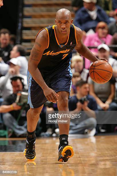 Chauncey Billups of the Denver Nuggets moves the ball up court during the game against the Sacramento Kings at Arco Arena on December 6 2008 in...