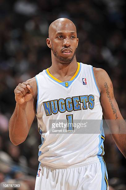 Chauncey Billups of the Denver Nuggets reacts to a call against the Portland Trail Blazers on February 2 2011 at the Pepsi Center in Denver Colorado...