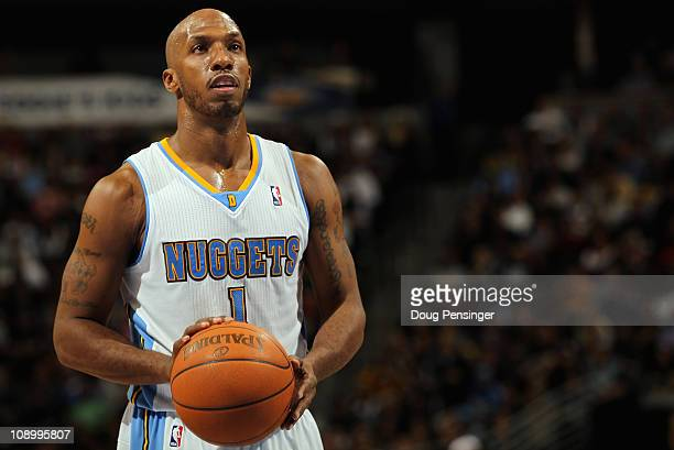 Chauncey Billups of the Denver Nuggets takes a free throw against the Dallas Mavericks during NBA action at the Pepsi Center on February 10 2011 in...