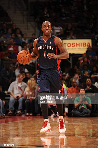 Chauncey Billups of the Detroit Pistons brings the ball upcourt against the Boston Celtics during the game on November 3 2013 at The Palace of Auburn...