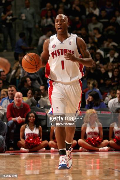 Chauncey Billups of the Detroit Pistons brings the ball upcourt during the game against the Orlando Magic on February 19 2008 at The Palace of Auburn...