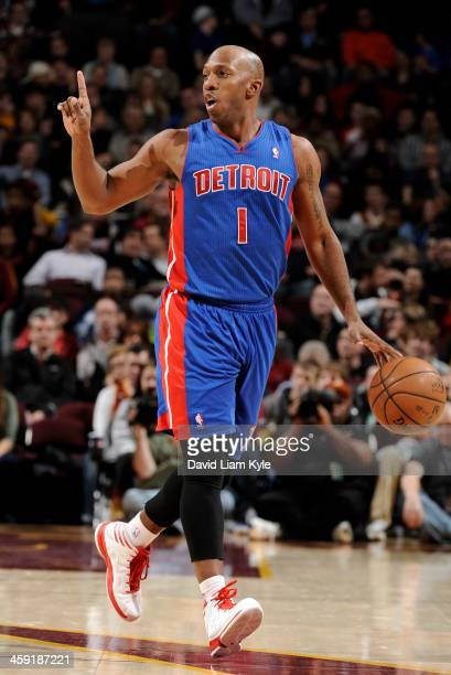 Chauncey Billups of the Detroit Pistons calls out the play in the game against the Cleveland Cavaliers at The Quicken Loans Arena on December 23 2013...