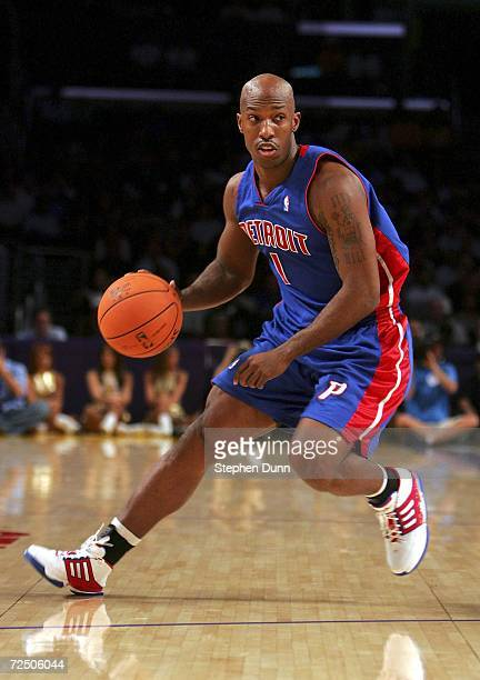Chauncey Billups of the Detroit Pistons controls the ball in the game with the Los Angeles Lakers on November 10 2006 at Staples Center in Los...
