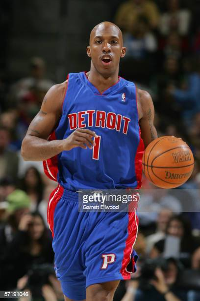 Chauncey Billups of the Detroit Pistons dribbles against the Denver Nuggets on March 1, 2006 at the Pepsi Center in Denver, Colorado. The Nuggets won...