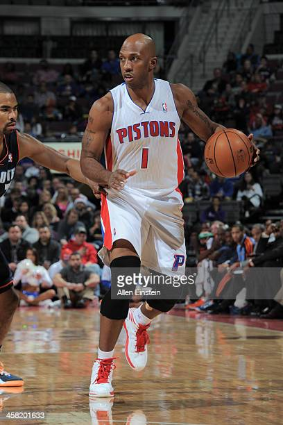Chauncey Billups of the Detroit Pistons dribbles the ball against the Charlotte Bobcats on December 20 2013 at The Palace of Auburn Hills in Auburn...