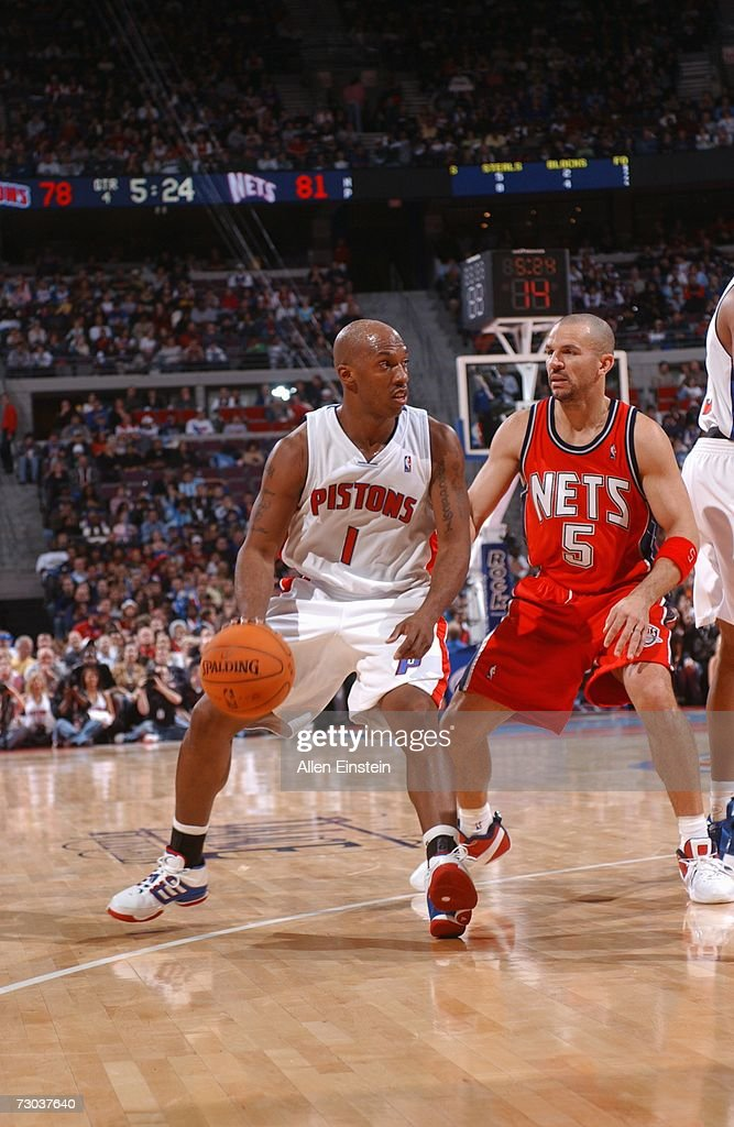 Chauncey Billups #1 of the Detroit Pistons drives against Jason Kidd #5 of the New Jersey Nets during a game at the Palace of Auburn Hills on December 26, 2006 in Auburn Hills, Michigan. The Pistons defeated the Nets 92-91.