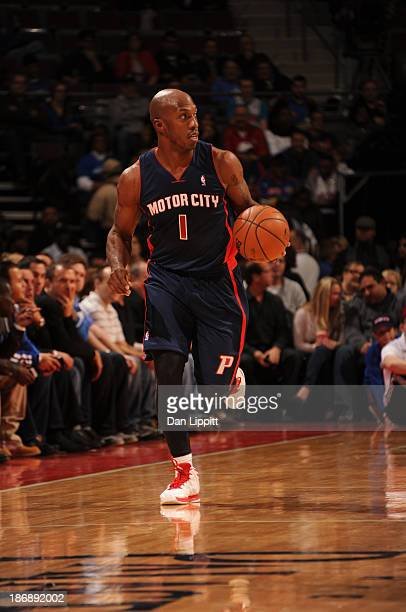 Chauncey Billups of the Detroit Pistons drives against the Boston Celtics during the game on November 3 2013 at The Palace of Auburn Hills in Auburn...