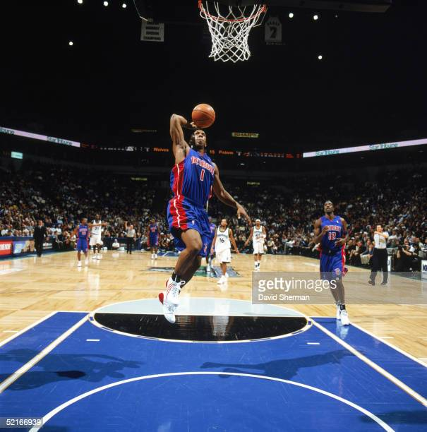 Chauncey Billups of the Detroit Pistons drives to the basket during a game against the Minnesota Timberwolves at Target Center on January 24 2005 in...