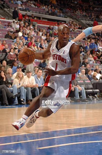 Chauncey Billups of the Detroit Pistons drives to the basket during the game against the Utah Jazz at The Palace of Auburn Hills on October 12 2007...