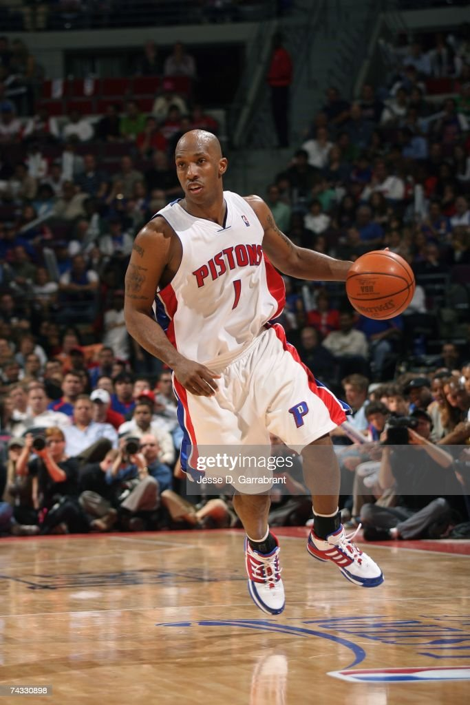 Chauncey Billups #1 of the Detroit Pistons drives upcourt in Game One of the Eastern Conference Finals during the 2007 NBA Playoffs against the Cleveland Cavaliers on May 21, 2007 at The Palace at Auburn Hills in Detroit, Michigan. The Pistons won 79-76.