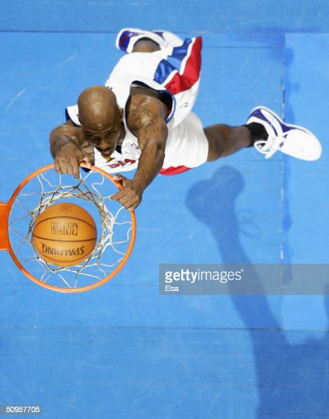 Chauncey Billups of the Detroit Pistons dunks the basketball against the Los Angeles Lakers during the third quarter in game four of the 2004 NBA...