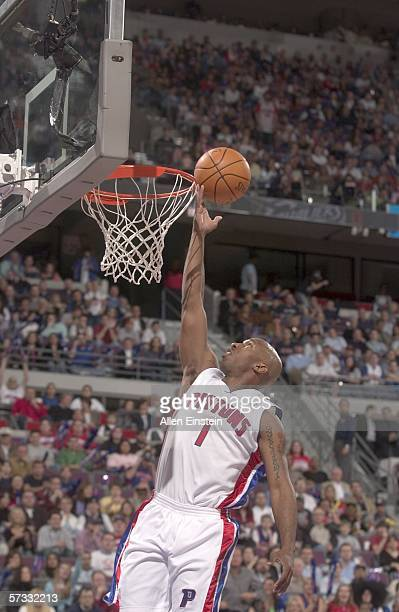 Chauncey Billups of the Detroit Pistons finishes a break away drive in a game against the Cleveland Cavaliers in a game on April 12, 2006 at the...