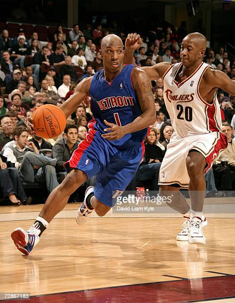 Chauncey Billups of the Detroit Pistons gets out ahead of Eric Snow of the Cleveland Cavaliers December 21 2006 at The Quicken Loans Arena in...