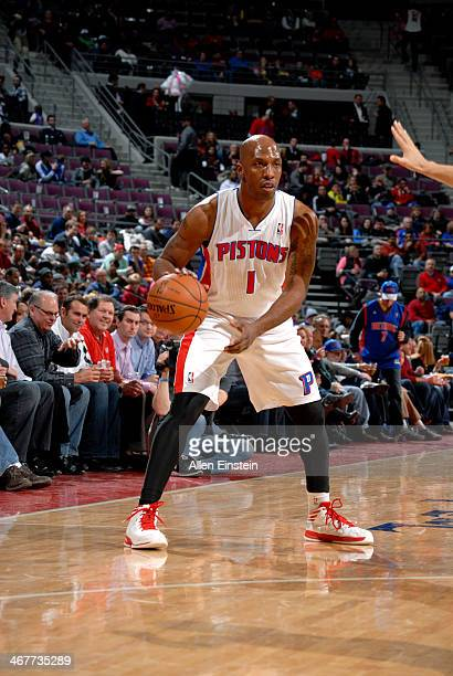 Chauncey Billups of the Detroit Pistons handles the ball against the Brooklyn Nets on February 7 2014 at The Palace of Auburn Hills in Auburn Hills...