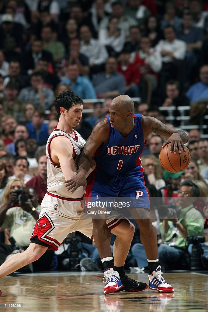 Chauncey Billups #1 of the Detroit Pistons moves the ball against Kirk Hinrich #12 of the Chicago Bulls in Game Three of the Eastern Conference Semifinals during the 2007 NBA Playoffs at the United Center on May 10, 2007 in Chicago, Illinois. The Pistons won 81-74 to take a 3-0 lead in the series.