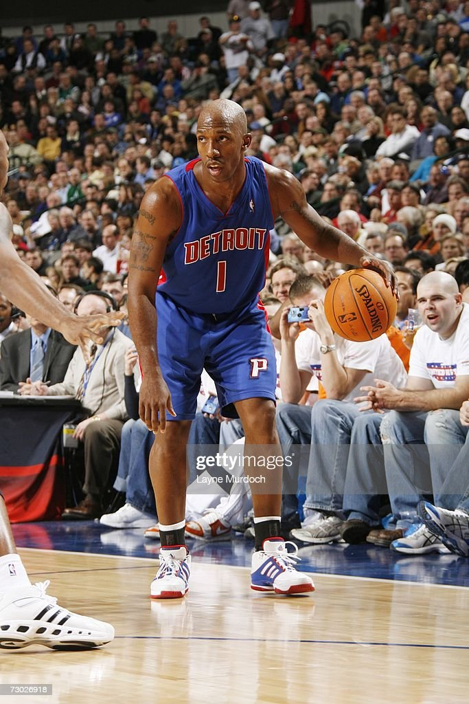 Chauncey Billups #1 of the Detroit Pistons moves the ball against the Dallas Mavericks during an NBA game on December 7, 2006 at the American Airlines Center in Dallas, Texas.