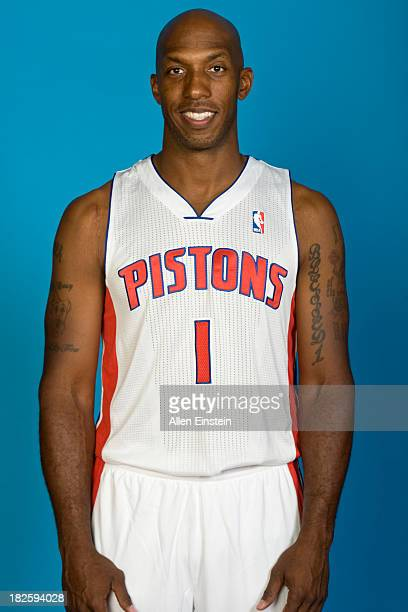 Chauncey Billups of the Detroit Pistons poses for a picture during Media Day on September 30 2013 at The Palace of Auburn Hills in Auburn Hills...