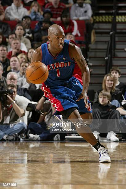 Chauncey Billups of the Detroit Pistons pushes the ball upcourt during the game against the Portland Trail Blazers at the Rose Garden on March 4,...