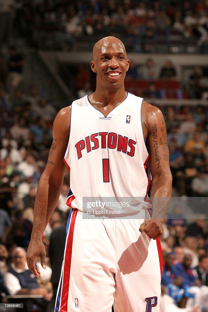 Chauncey Billups #1 of the Detroit Pistons reacts during a game against the Orlando Magic in Game Two of the Eastern Conference Quarterfinals during the 2007 NBA Playoffs at the Palace of Auburn Hills on April 23, 2007 in Auburn Hills, Michigan.