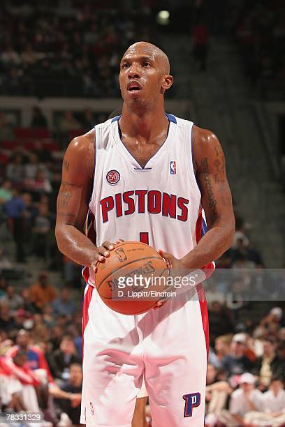 Chauncey Billups of the Detroit Pistons shoots a free throw during the game against the Philadelphia 76ers at The Palace of Auburn Hills on November...