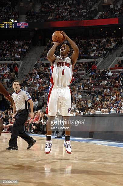 Chauncey Billups of the Detroit Pistons shoots a jump shot during the game against the Milwaukee Bucks at the Palace of Auburn Hills on February 22,...