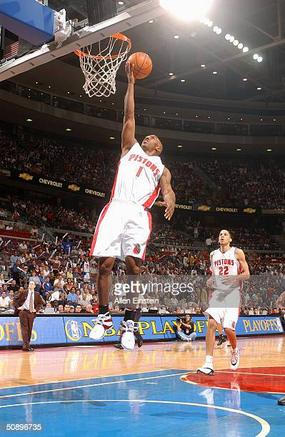 Chauncey Billups of the Detroit Pistons shoots a layup against the New Jersey Nets in Game five of the Eastern Conference Semifinals during the 2004...