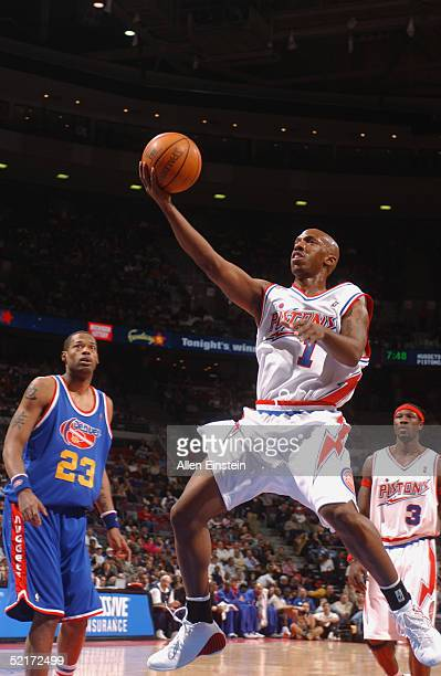 Chauncey Billups of the Detroit Pistons shoots a layup against the Denver Nuggets during the game on January 26 2005 at the Palace of Auburn Hills in...