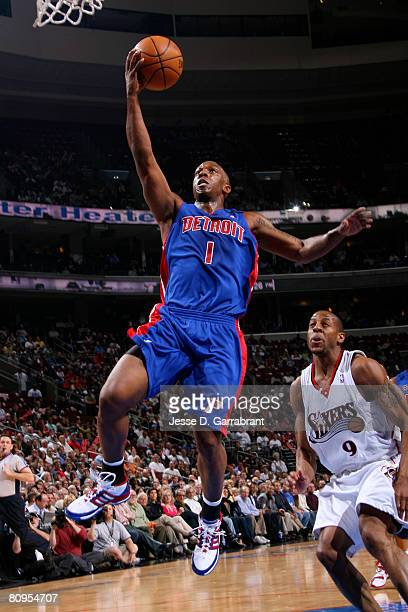 Chauncey Billups of the Detroit Pistons shoots against Andre Iguodala of the Philadelphia 76ers in Game Six of the Eastern Conference Quarterfinals...