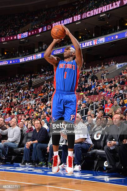 Chauncey Billups of the Detroit Pistons shoots against the Philadelphia 76ers at the Wells Fargo Center on January 10 2014 in Philadelphia...