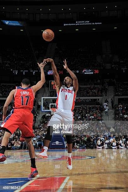Chauncey Billups of the Detroit Pistons shoots against the Washington Wizards on December 30 2013 at The Palace of Auburn Hills in Auburn Hills...