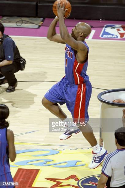 Chauncey Billups of the Detroit Pistons shoots during the Haier Shooting Stars at NBA AllStar Weekend at the Thomas Mack Center February 17 2007 in...
