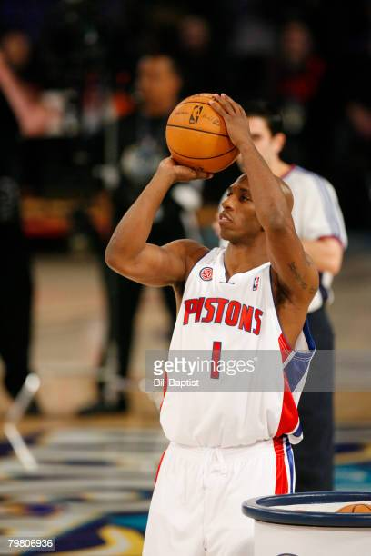 Chauncey Billups of the Detroit Pistons shoots during the HAIER Shooting Stars at the New Orleans Arena February 16 2008 in New Orleans Louisiana...