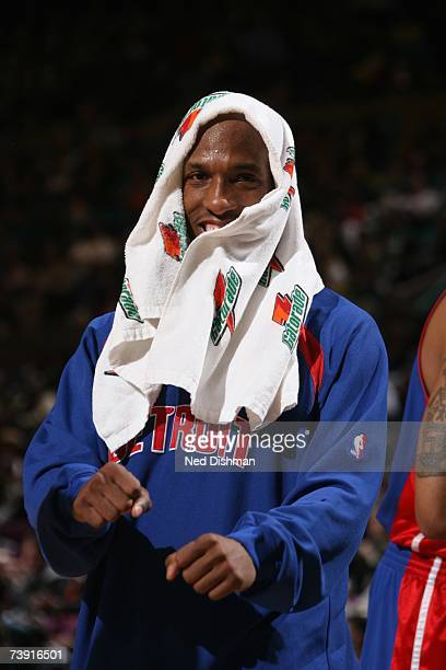 Chauncey Billups of the Detroit Pistons smiles as he stand on the court with a Gatorade towel on his head during a game against the New York Knicks...