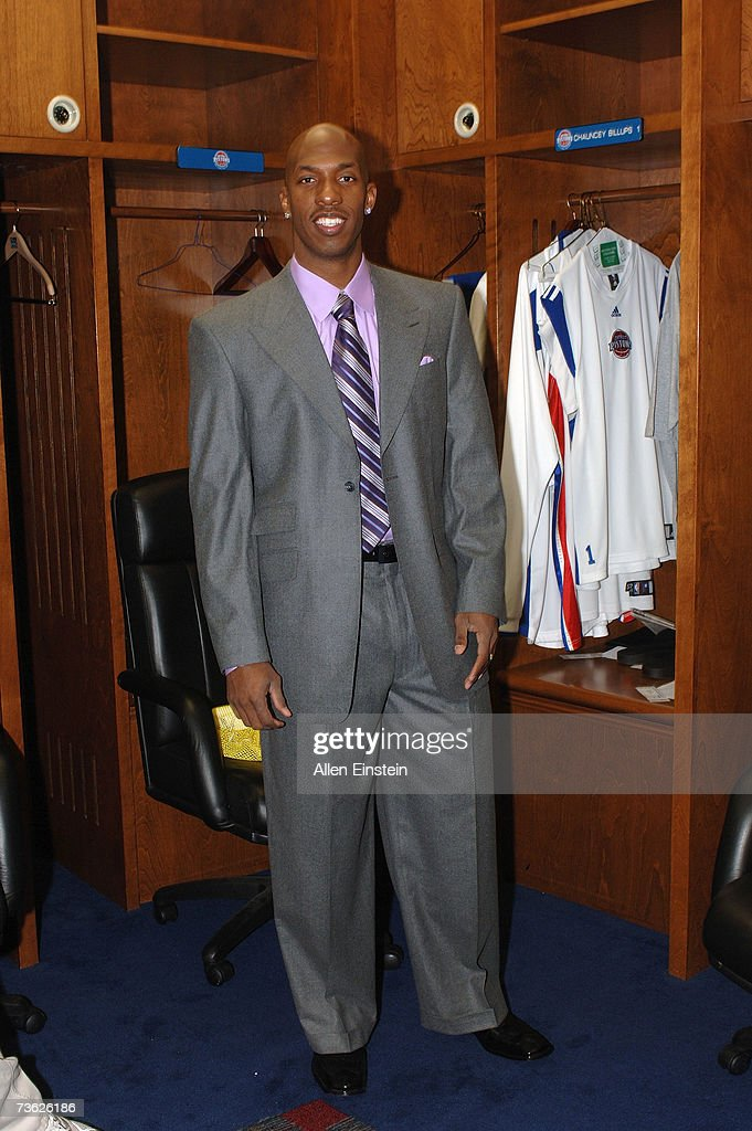Chauncey Billups #1 of the Detroit Pistons stands in the locker room before a game against the Dallas Mavericks on March 18, 2007 at the Palace of Auburn Hills in Auburn Hills, Michigan.