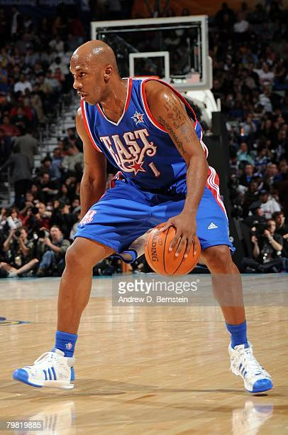 Chauncey Billups of the Eastern Conference moves the ball during the 2008 NBA AllStar Game part of 2008 NBA AllStar Weekend at the New Orleans Arena...