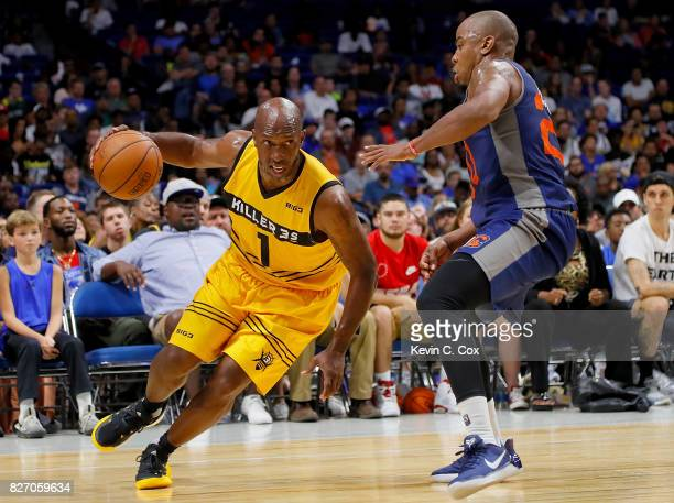 Chauncey Billups of the Killer 3s drives past Andre Owens of 3's Company during week seven of the BIG3 three on three basketball league at Rupp Arena...