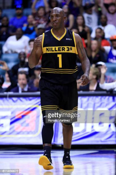 Chauncey Billups of the Killer 3s reacts during the game against TriState during week three of the BIG3 three on three basketball league at BOK...