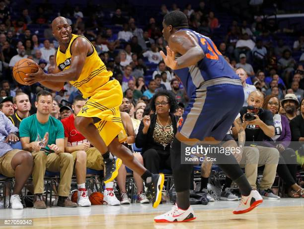 Chauncey Billups of the Killer 3s saves the ball from going out of bounds during the game against 3's Company during week seven of the BIG3 three on...