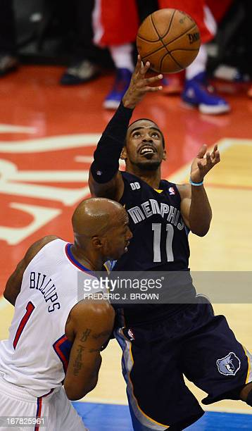 Chauncey Billups of the Los Angeles Clippers guards Mike Conley of the Memphis Grizzlies during Game 5 of their NBA playoff series on April 30 2013...