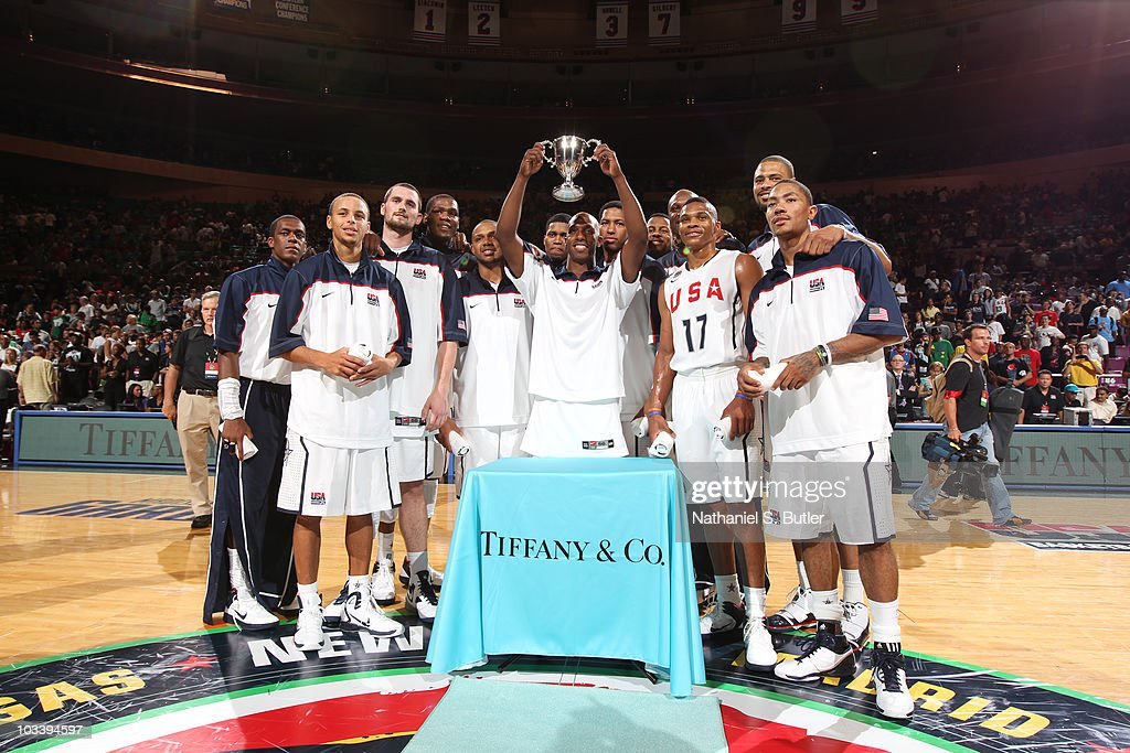 Chauncey Billups #4 of the USA Men's National Team team is awarded the MVP trophy against France at Madison Square Garden on August 15, 2010 in New York City.
