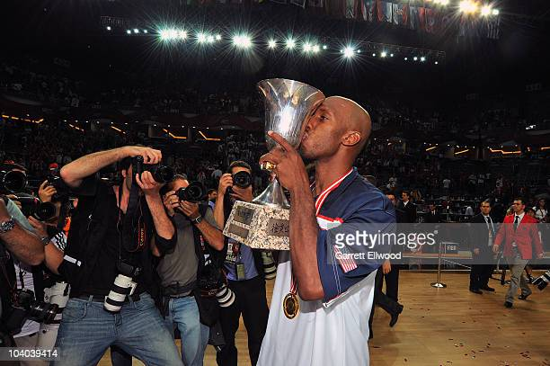 Chauncey Billups of the USA Senior Men's National Team kisses the trophy following the game against Turkey during the 2010 World Championships of...