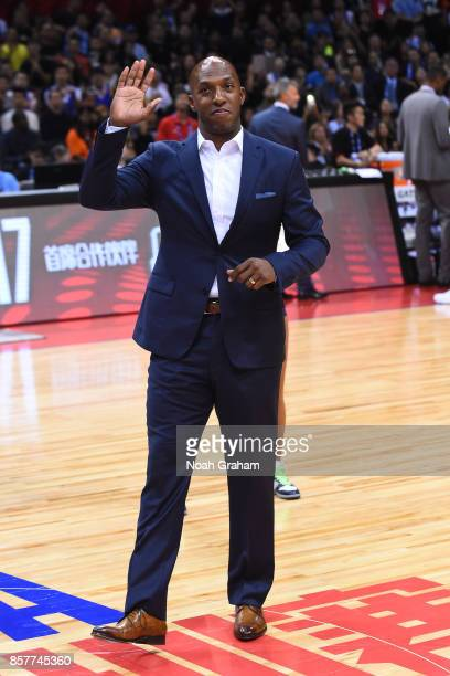 Chauncey Billups waves to the crowd during halftime of the Minnesota Timberwolves game against the Golden State Warriors as part of 2017 NBA Global...